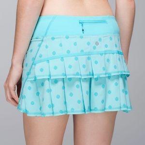 Lululemon Stripe Dot Blue Run Pace Setter Skirt 4
